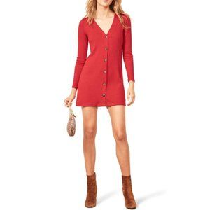 Reformation Agatha Ribbed Mini Dress In Cherry Red